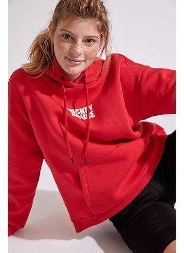 DeFacto Mickey Mouse Lisanslı Sweatshirt Kırmızı